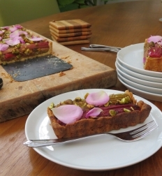 RHUBARB Pie WITH  PISTACHIOS AND ROSE WATER